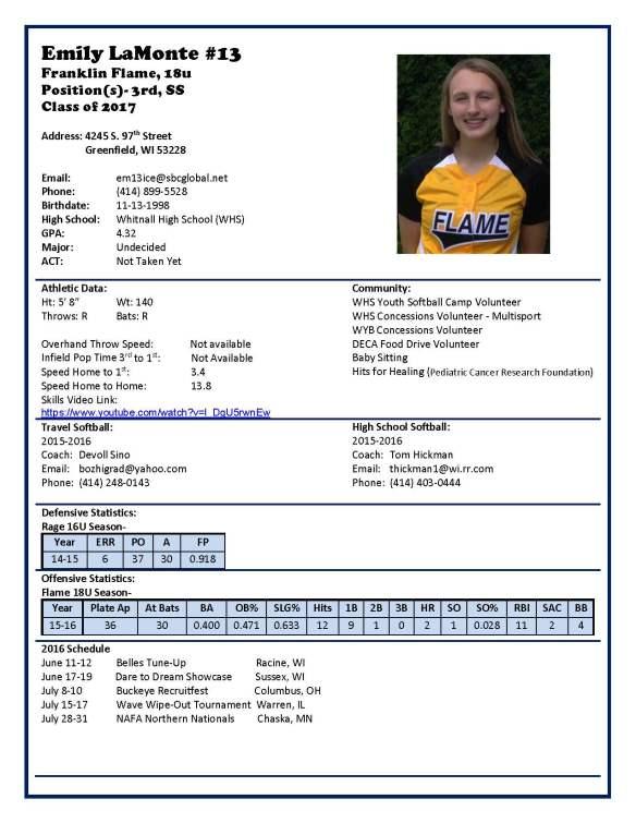 Emily Profile (18U-2016)